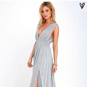 Lulus Heavenly Hues Grey Maxi Dress